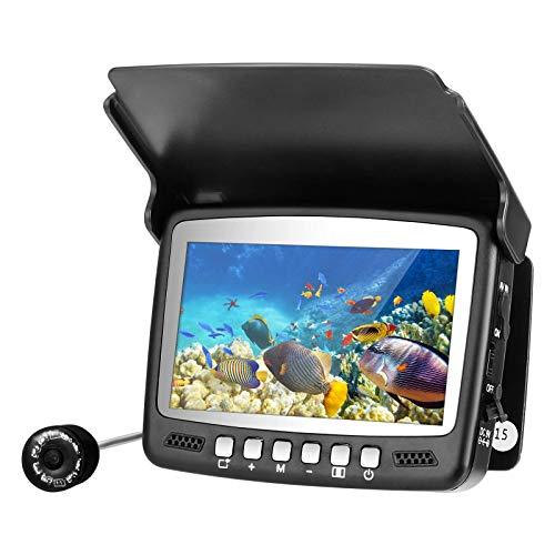 MATHOWAL Cámara de pesca submarina, 1000TVL HD buscador de peces impermeable portátil para pesca en kayak en barco de mar de Ice, 8 luces infrarrojas, pantalla color de 4,3 pulgadas, Cable de 15 m