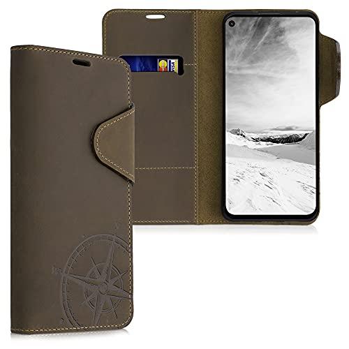 kalibri Carcasa Compatible con Google Pixel 4a 5G - Funda de Cuero con Tapa de Billetera Aguja magnética marrón