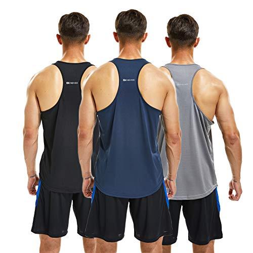 frueo 3 Piezas Camiseta Ttirantes Hombre Deport Camiseta Sin Mangas Tank Top Gym de Secado Rápido para Running Fitness Entrenamiento,20418,Black Gray Navy,XL