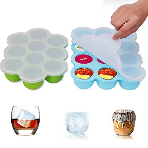 Boîte de rangement congelée pour aliments pour bébés ZOUNICH en silicone, pour aliments pour bébés, purée, whisky, yogourt et glace,multi-usage réutilisable