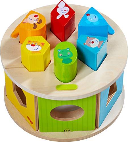 HABA 305060 - Sortierbox Lieblingstiere, farbenfrohes Zuordnungsspiel mit 6 Holzsteinen und 1 Sortierbox, Motorikspielzeug ab 12 Monaten , zum Lernen von Farben und Formen