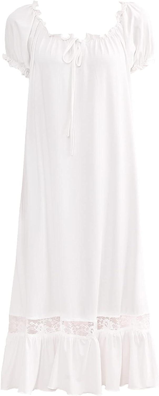 Hularka Womens Nightgowns Vintage Victorian Nightdress Puff Slee