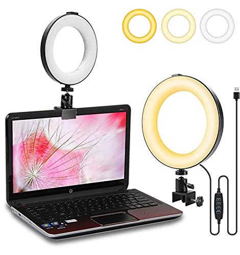 QINGQING Luz de Anillo,luz de Relleno,luz de Relleno de Selfie en Anillo,luz en Vivo,luz de fotografía,Fuente de alimentación USB,luz Tricolor,atenuación multifrecuencia