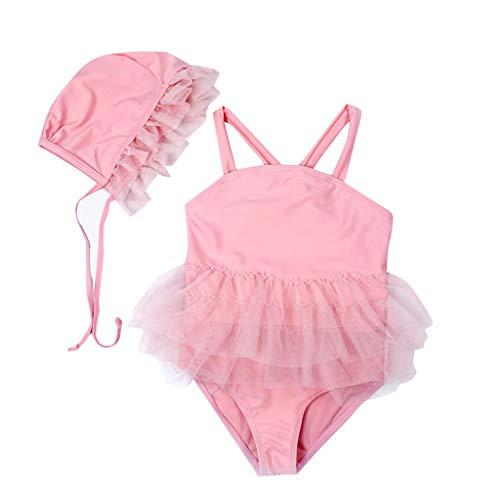 sunnymi Baby Badebekleidung Badeanzug,2-7 Jahre Mädchen Pure Farbe Camisole Gaze Einteilige Badeanzug Badekappe
