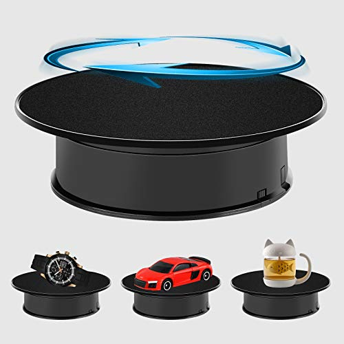 Inovat Black Color Velvet Top Motorized Rotating Display Stand for Jewelry Model Hobby Collectible Product and Other Small Stuff Battery Powered