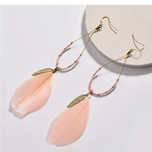 Empty mode messingdraad water met roze veer oorbellen romantische lange hanger oorbellen