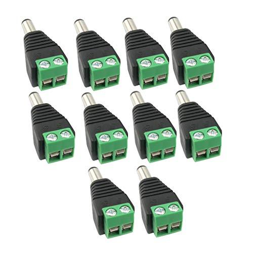 Harilla Conector Adaptador de Enchufe Macho de Alimentación CC de 10 Piezas de 12 V para Cámara CCTV