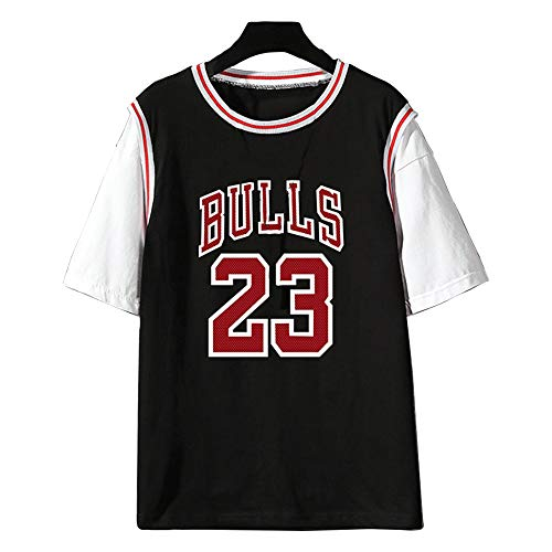 Dybory Camiseta De Baloncesto De La NBA para Hombre, Chicago Bulls # 23 Michael Jordan Algodón Moda Juvenil Niño Manga Corta Verano Hiphop Top,Negro,3XL