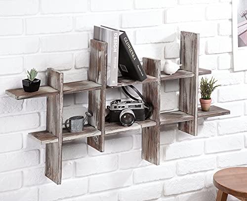 J JACKCUBE DESIGN Rustic Wall Mount Shelves Set of 2 Cube Grid Display Case Floating Organizer Rack Farmhouse Style Home Decor for Bathroom, Kitchen, Bedroom - MK511A