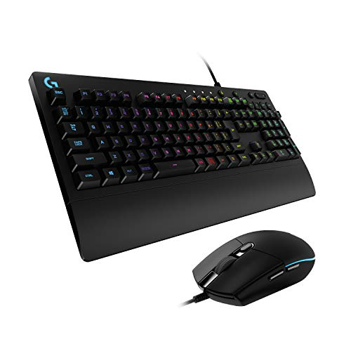 Logitech G PRO Gaming Maus, HERO 16000 DPI Sensor, USB-Anschluss, RGB-Beleuchtung + G213 Prodigy Gaming-Tastatur, RGB-Beleuchtung, Programmierbare G-Tasten,Deutsches QWERTZ-Layout