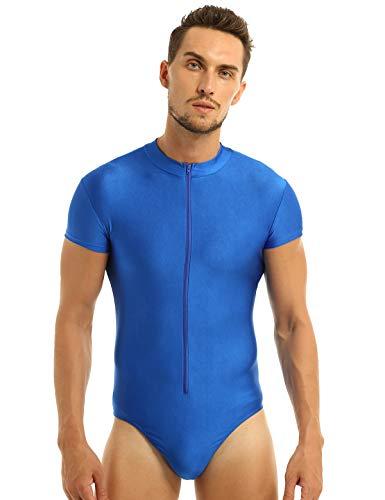YOOJIA Herren Hemdbody Gymnastik Leotard Stretchy Unterhemd Bodysuit Männer Body Hemd Slim Fit Overall T-Shirt Bodysuit Sportwear Unterwäsche Blau Medium