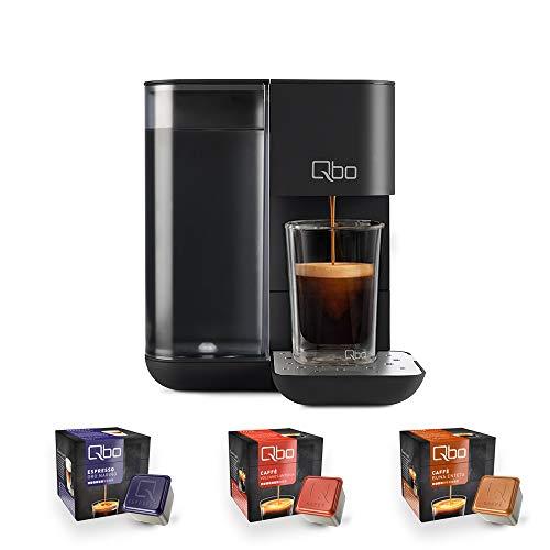 Tchibo Qbo Touch Kaffee Kapselmaschine für Espresso, Caffè und Caffè Grande inkl. 24 Qbo-Kapseln – Amazon Alexa kompatibel, kompaktes Design, 1,3l Wassertank, Onyx Black (Schwarz)
