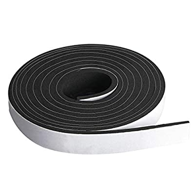 Neoprene Foam Strip Roll by Dualplex Weather Seal High Density Stripping with Adhesive Backing - Weather Strip Roll Insulation Foam Strips
