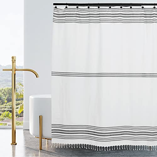 Hall & Perry Modern Block Stripe Shower Curtain 100% Cotton Striped Fabric Shower Curtain with Tassels for Bathroom Decor, 72x72- Gray Stripe