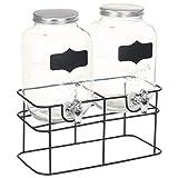 vidaXL Lot de 2 distributeurs de boissons avec support - Robinet - Distributeur d'eau - Distributeur de jus - Distributeur de jus - Verre - 2 x 4 l