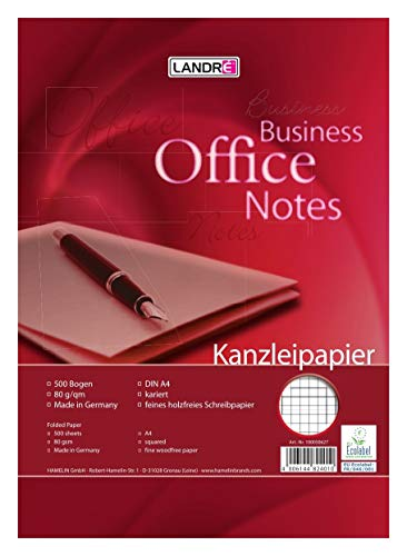 LANDRE 100050627 Kanzleipapier Office 500 Kanzleibogen kariert 80 g/m² holzfreies Papier - Ideal für Schule und Büro