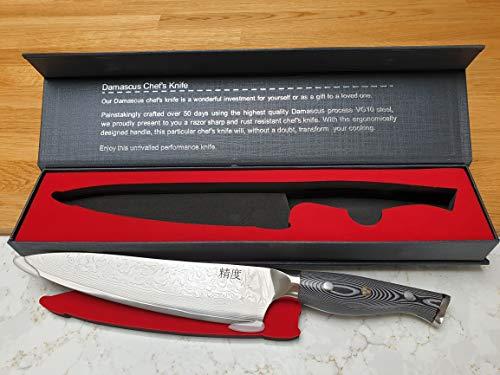 Cuchillo para chefs de damasco de 4 capas de acero japonés de 8 pulgadas de calidad profesional - SUPER Sharp - Productos de cocina de precisión