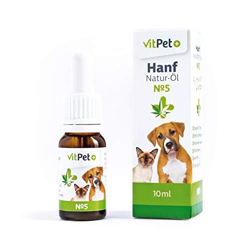 VitPet+ Hanf Natur-Öl Tropfen No 5 - Natürliches Hanfsamenöl - Für Hunde und Katzen - 10 ml für ergiebige 250 Tropfen