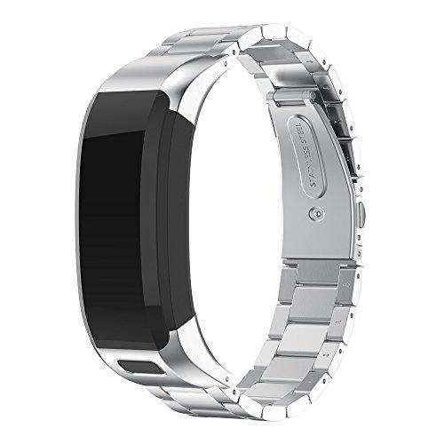 Colorful Metallarmband für Garmin VIVOsmart HR Edelstahl Ersatzarmband Uhrenarmband Replacement Wechselarmband Watch Band für Garmin VIVOsmart HR,Silber