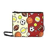 WYYWCY Football coloré Football Motif Personnalisé Nylon de haute qualité Slim Pochette Sac bandoulière Sac à bandoulière