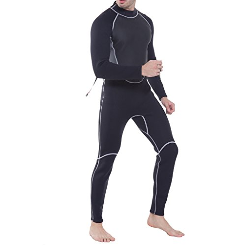 CUTICATE 3mm Neoprene Men Full Body Wetsuit Surfing Suit Diving Snorkeling Swimming Kayak Canoe Rash Guard with Back Zipper - Select Sizes - M
