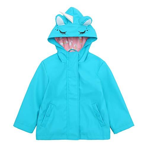 Girls' Lightweight Waterproof Hooded Rubberized Rain Jacket Raincoat Windbreaker (2T, Teal Unicorn)