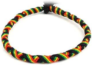 Bracelet réglable en cuir véritable naturel et coton rasta Bob Marley reggae