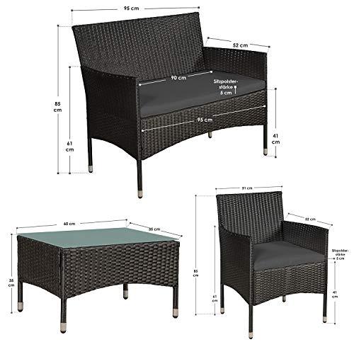 ArtLife Polyrattan Gartenmöbel-Set Fort Myers schwarz – Sitzgruppe mit Tisch, Sofa & 2 Stühlen - Balkonmöbel für 4 Personen mit grauen Auflagen - 5