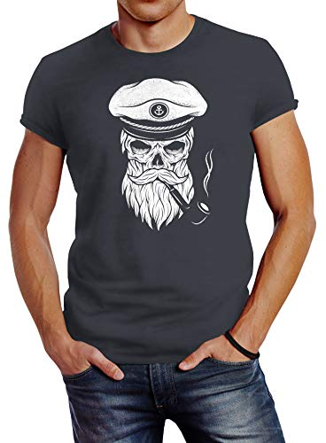 Neverless Herren T-Shirt Totenkopf Kapitän Captain Skull Bard Hipster Original Spirit Seemann Slim Fit dunkelgrau XL