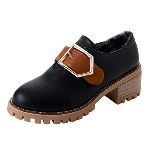 Mymyguoe Mode Damen Draussen Britisch Runder Zeh Einzelne Schuhe Flach Pumps Slipper Slip-on Bequeme Plateauschuhe Schlupf Halbschuhe Metallschnalle rutschfeste Segelschuhe Loaferschuhe