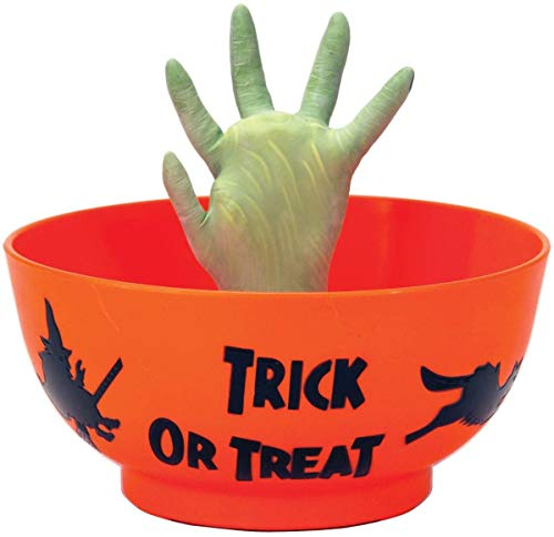 Orange Sweets Holder Halloween Bowl with Grabbing Hand