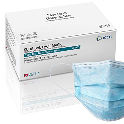 UK Manufactured Type IIR Surgical Face Mask, Medical grade Fluid Resistant, 98% Filtration, Comfortable, High Breathability, Soft ear loop, EN 14683, Single Use, Box of 50 | JCCG UK Brand