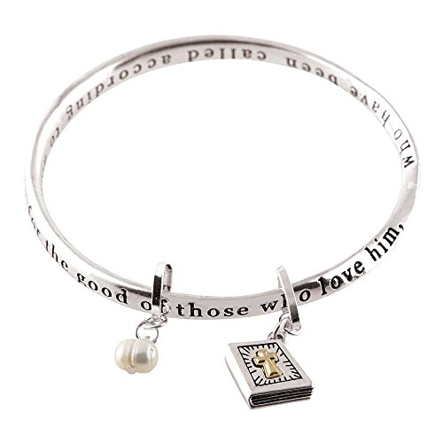 Dicksons Romans 8:28 Mobius Women's Silver-Plated Bangle Bible Charm Bracelet