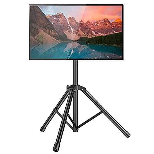 TV Tripod Stand-Portable Foldable TV Floor Stand with Tripod Base for 26-50 Inch LED LCD OLED Flat/Curved Screen TVs, Indoor Outdoor Tripod Floor TV Stand Height Adjustable, 88 Lbs, Max VESA 400x400
