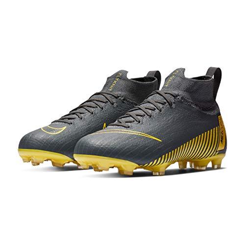 Nike Kids' Superfly 6 Elite FG Soccer Cleats, Grey/Yellow/Black, 4 Big Kid