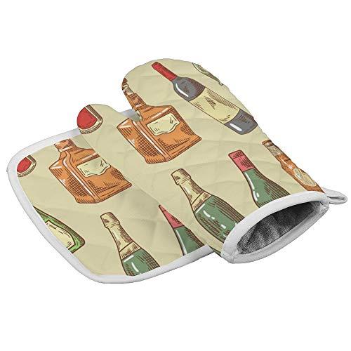 N/A Isolatie handschoenen Wijn, Bier, Liquor Professionele hittebestendige Oven Mitts,Inclusief geïsoleerde handschoenen en geïsoleerde vierkante pads