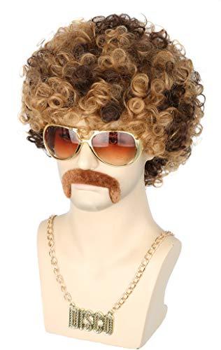 Topcosplay Perruque Afro funky des années 70, Perruque Homme Brune Perruque Courte Cheveux Bouclés pour Halloween Fête (marron)