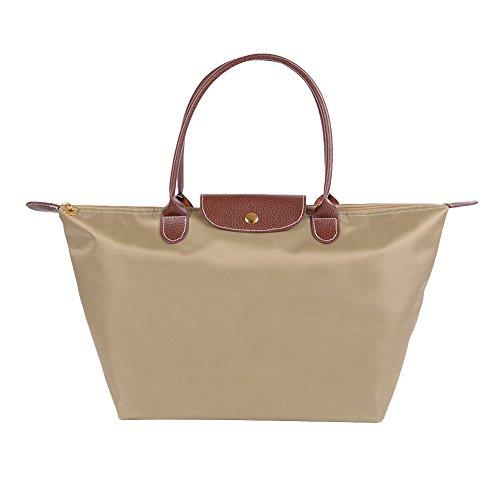 Fletion - Bolso de nailon impermeable para mujer, bolso de hombro, plegable, bolsa de viaje caqui L:52 cm*32 cm*20 cm