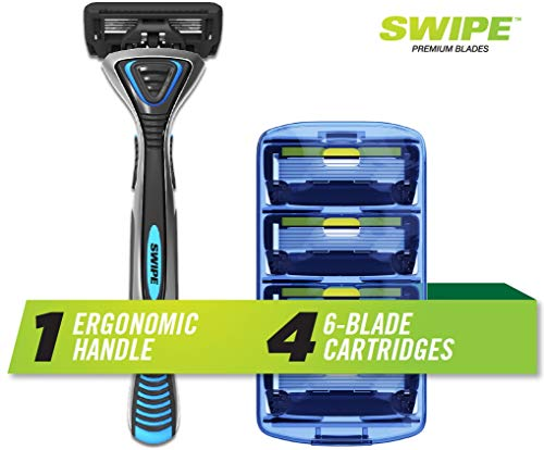SWIPE Premium Men's 6-Blade Razor Kit (Flex Head Handle + 4 Refills)