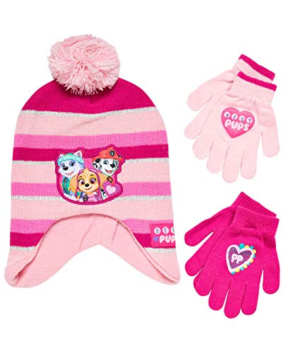 Nickelodeon Paw Patrol Girls Winter Hat and 2 Pair Mittens or Gloves (Age 2-7)