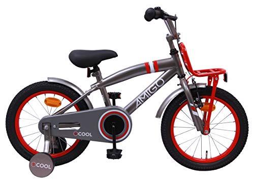 AMIGO 2Cool - Kinderfiets - 16 Inch - Jongens - Met trainingswielen en achtbaan rem - Grijs/Rood