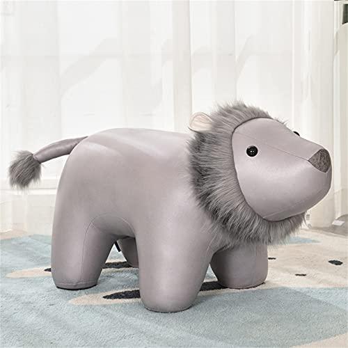 WXXSL Poggiapiedi a Forma di Animale, Sgabello Giocattolo per Bambini Ottomano Decorative Sedie, Tessuto Eco-Tech Facile da Mantenere,Grigio,Lion