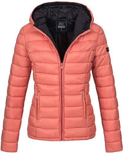 Marikoo Damen Jacke Steppjacke Herbst Winter Übergangsjacke gesteppt B651 [B651-Luc-Coral-Gr.L]