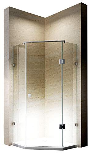 Bernstein Badshop Duschkabine Fünfeckdusche Alu-Schwall-Leiste NANO Rahmenlose Echtglas-Dusche EX415 - Duschabtrennung 80 x 80 x 195 cm - Duschwand mit Duschtasse
