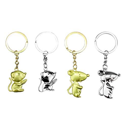 Amosfun 4 PC-Maus Keychain Chinesisches Tierkreisrattenjahr-Schlüsselring Schlüsselanhänger des Neuen Jahres 2020 Hängendes Verzierungszinklegierungsbeutelanhänger-Geldbeutelcharme-Kleines Geschenk