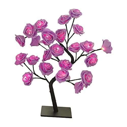 bozitian Lámpara de mesa LED de árbol de rosa, lámpara de cabecera con base de plástico extraíble USB interruptor LED luz de noche para adolescentes niñas dormitorio decoración regalos