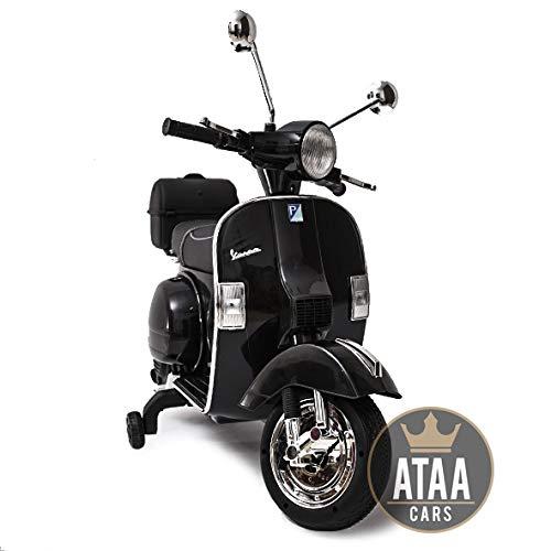 ATAA Vespa clásica Oficial 12v Licencia Piaggio - Negro Moto eléctrica para niños hasta 7 años. Batería 12v Coche electrico niños