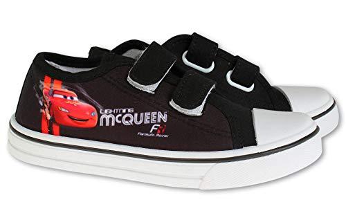 Coole-Fun-T-Shirts Cars Lightning MC Queen Kinderschuhe Jungen + Mädchen Sneakers Hausschuhe geschlossen Klettverschluss rutschfeste Sohle Schuhe 24 25 26 27 28 29 30 ROT Gr.26 (Numeric_30)