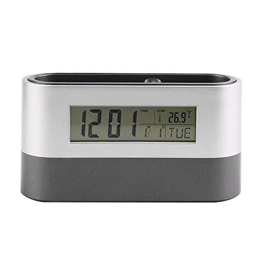 AYDQC Titular de la Pluma Temperatura del Calendario Pantalla Negro Azul Libre de la Nave Multifuncional Hogar Digital de Alarma de Reloj de Alarma Ajustable Reloj, Mesilla de Noche, esc