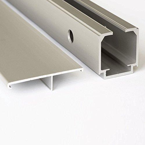 inova Holz-Schiebetür 880 x 2035 mm Wenge Alu Komplettset mit Lauf-Schiene und Griffmuschel inkl. Softclose - 2